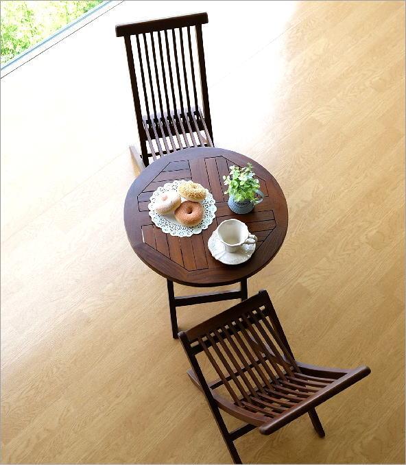 チークスモールテーブル&チェアーセット(2)