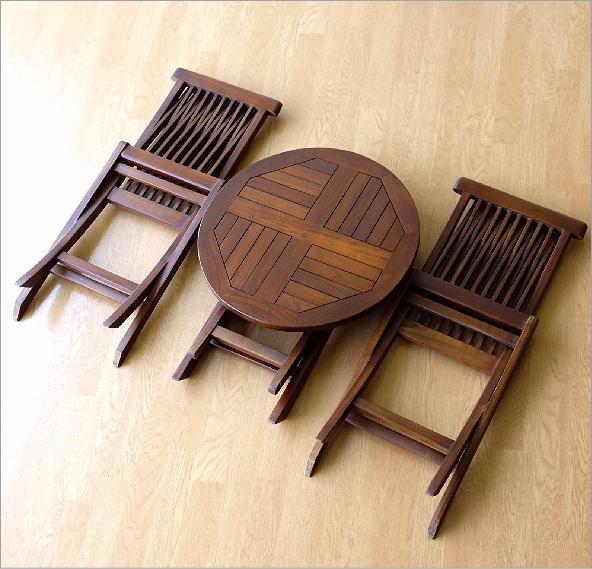 チークスモールテーブル&チェアーセット(3)