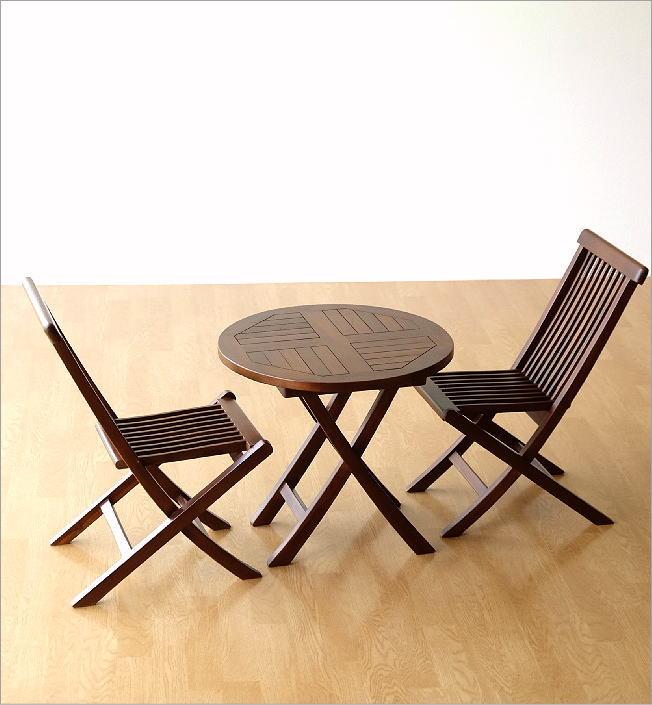 チークスモールテーブル&チェアーセット(7)