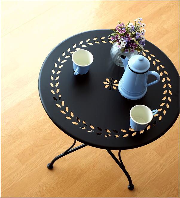 メタルブラックガーデンテーブル(1)
