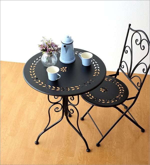 メタルブラックガーデンテーブル(4)