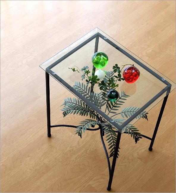 リーフスモールガラステーブル(1)