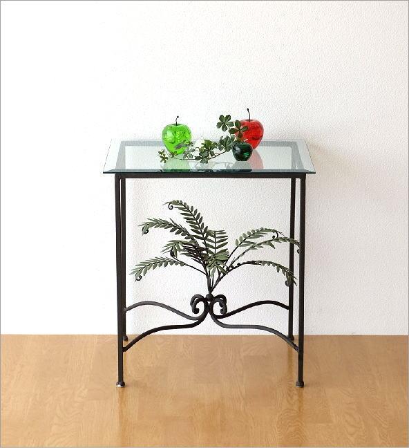 リーフスモールガラステーブル(5)