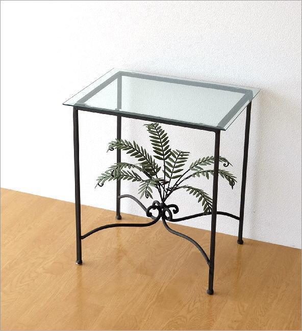 リーフスモールガラステーブル(6)