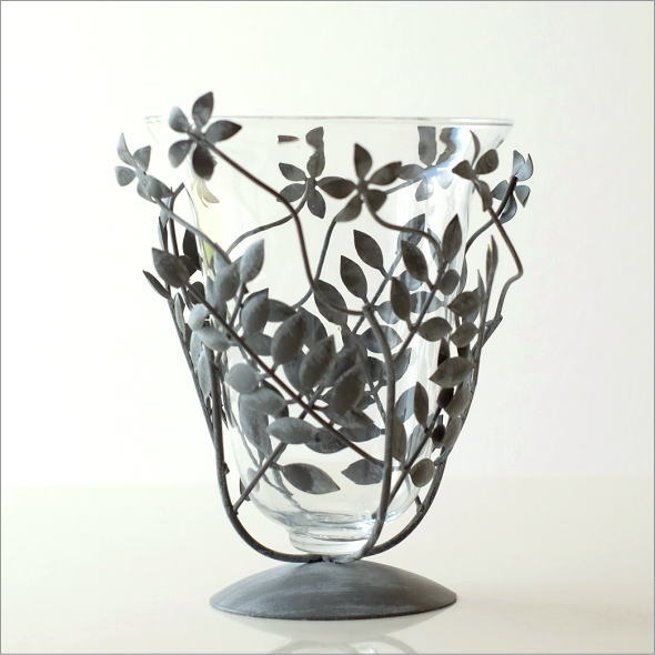 アイアンリーフの花瓶 グレイ(4)