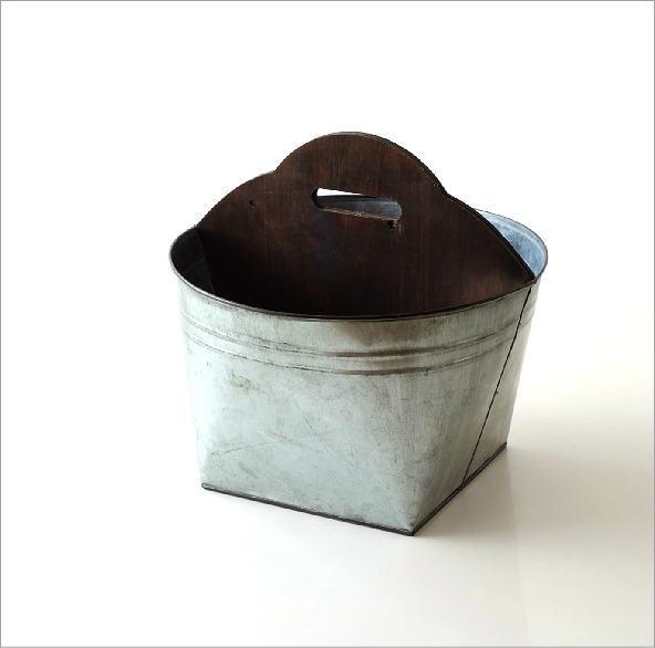 Tin バスケット ウッドバー(4)