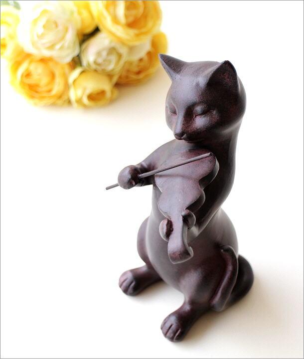 ネコのオブジェ バイオリン(1)