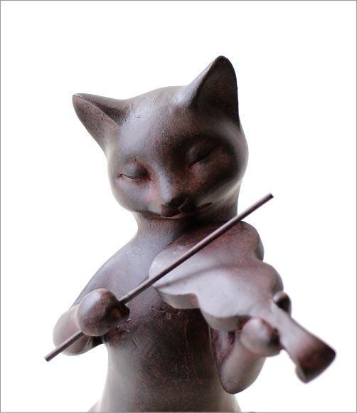 ネコのオブジェ バイオリン(2)