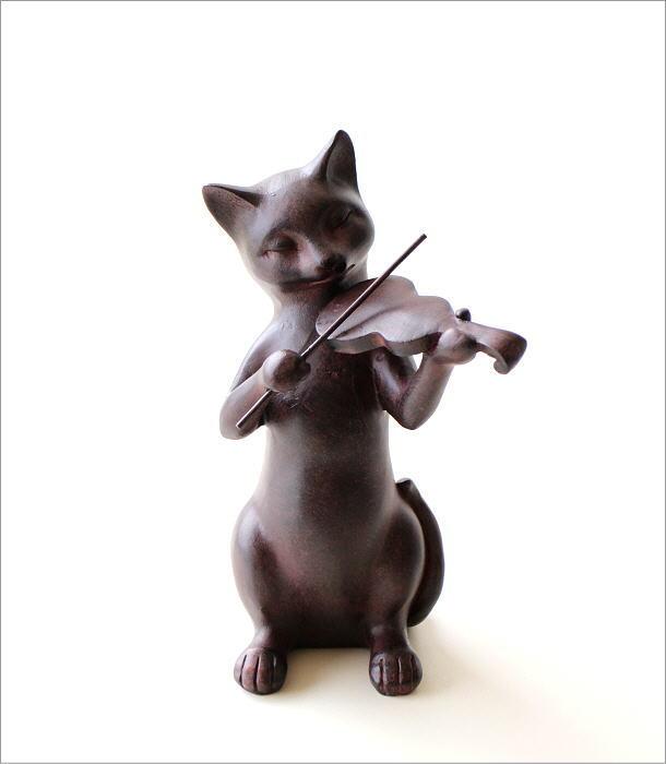 ネコのオブジェ バイオリン(4)