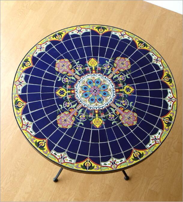 ガーデンテーブル モザイクブルー(2)