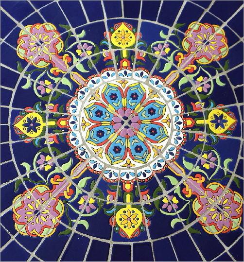 ガーデンテーブル モザイクブルー(3)