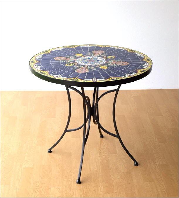 ガーデンテーブル モザイクブルー(5)