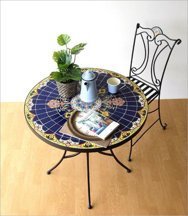 ガーデンテーブル モザイクブルー(6)