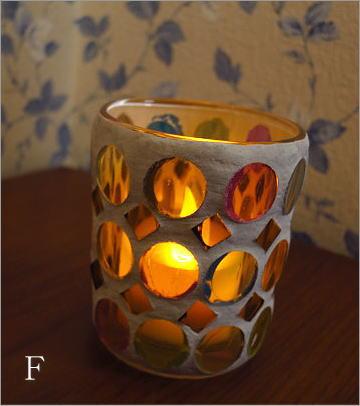 モザイクガラスのキャンドルカップ3タイプ