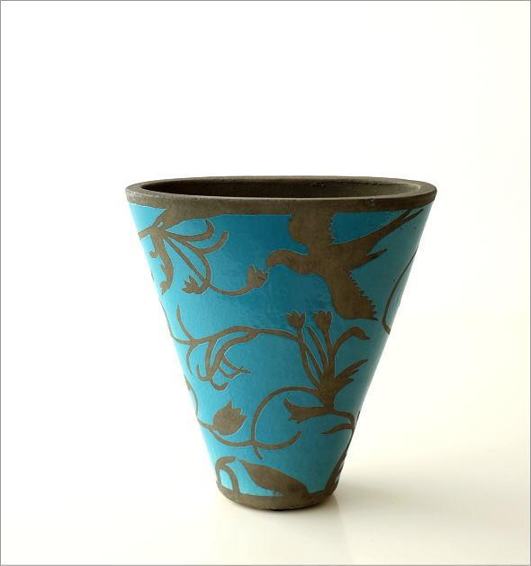 陶器のベース スモールブルー(4)