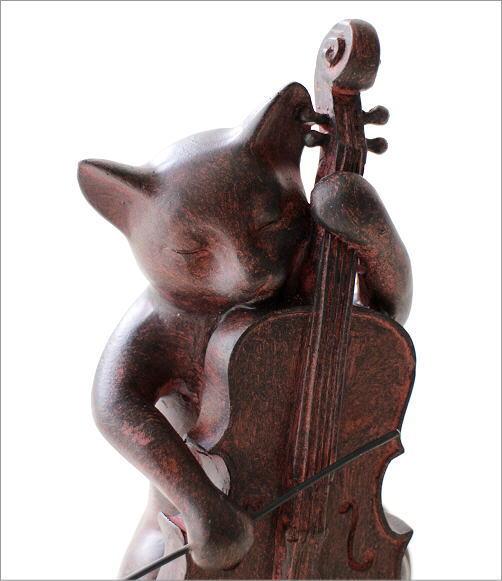 ネコのオブジェ チェロ(2)