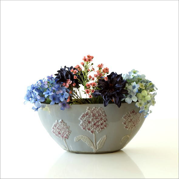 陶器のベース フローラルボートベース(5)