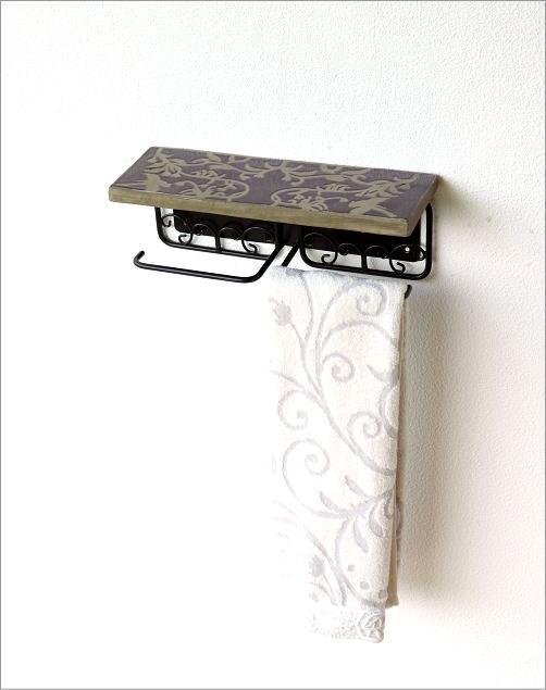陶器の棚付きペーパーホルダーダブル 花鳥風月(4)