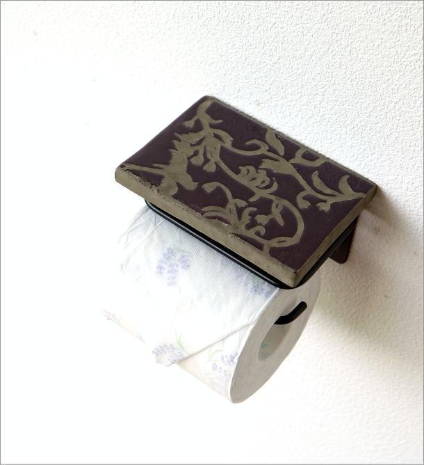 陶器の棚付きペーパーホルダーシングル 花鳥風月(1)