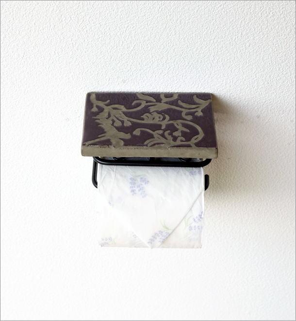 陶器の棚付きペーパーホルダーシングル 花鳥風月(5)
