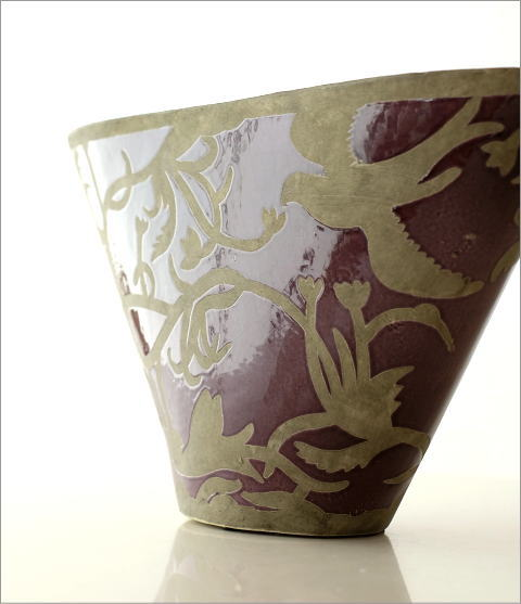 陶器のベース オーキッドバード(2)
