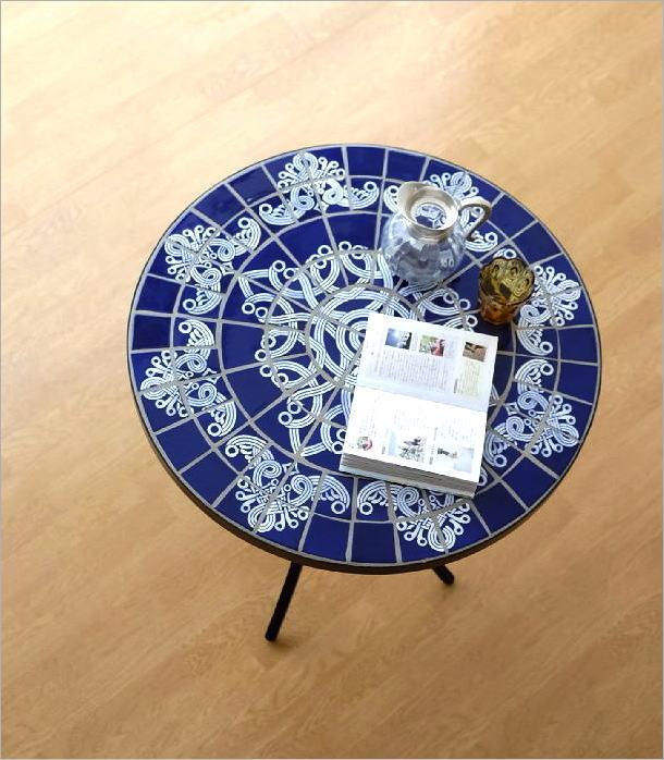ガーデンモザイクテーブル ブルー&ホワイト(1)