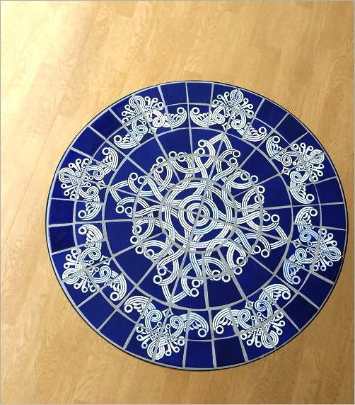 ガーデンモザイクテーブル ブルー&ホワイト(2)