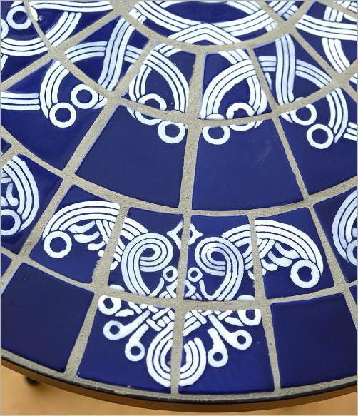 ガーデンモザイクテーブル ブルー&ホワイト(3)