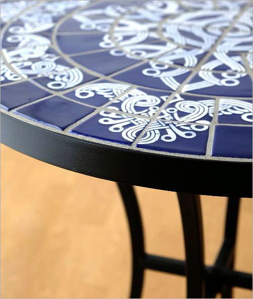 ガーデンモザイクテーブル ブルー&ホワイト(4)