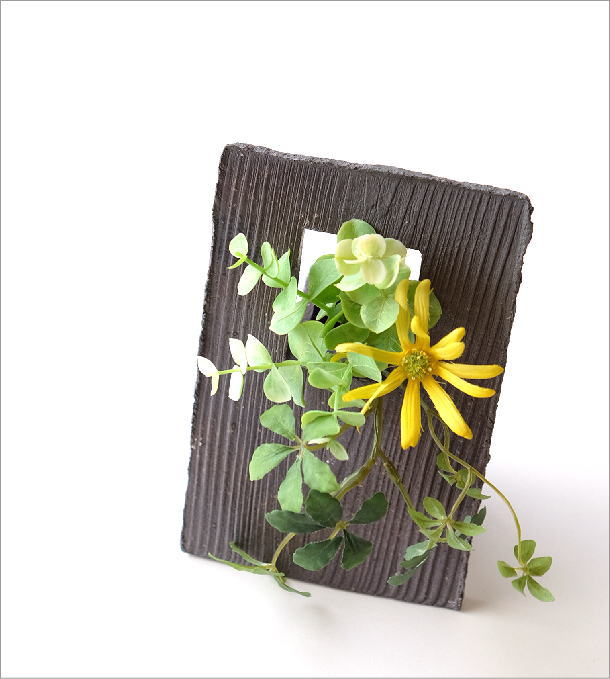 花器 一輪挿し おしゃれ 陶器のフレーム花入れ(1)