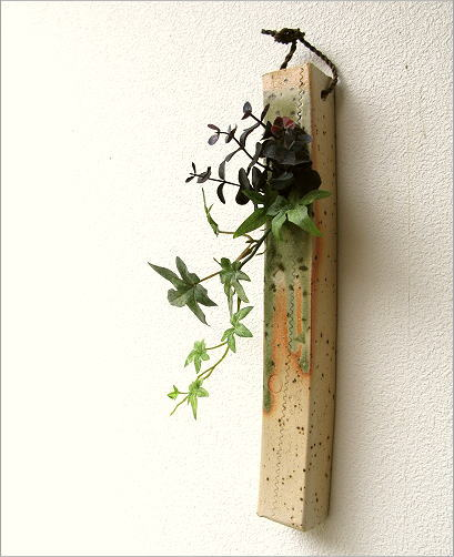 花器 壁掛け 和陶器掛け花 三(3)