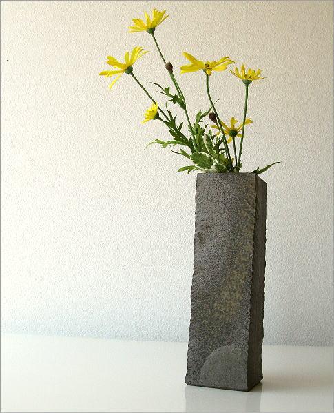 花瓶 陶器 角柱面取り花入れ(1)