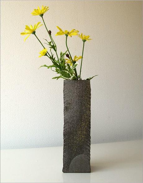 花瓶 陶器 角柱面取り花入れ(4)