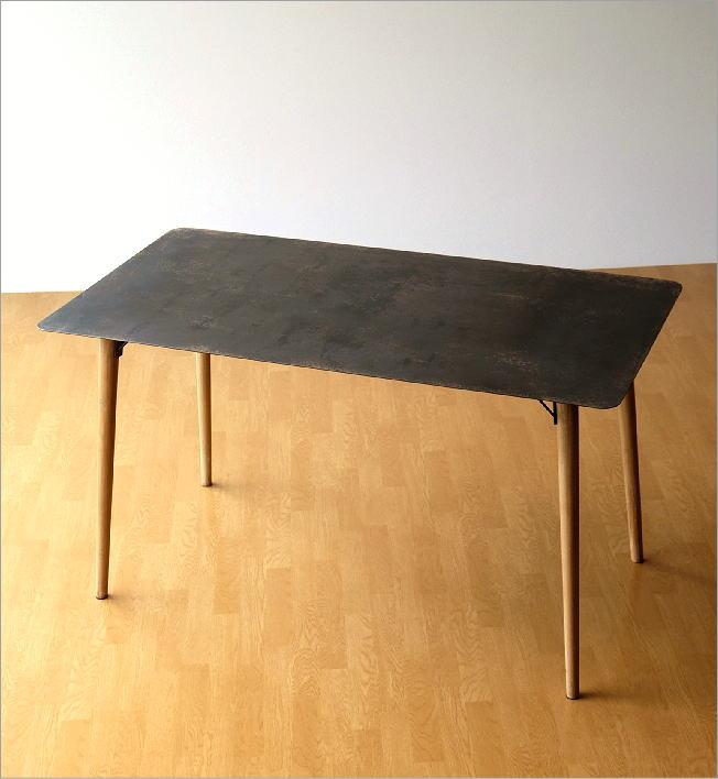 シャビーなアイアンとウッドのテーブル 140(7)