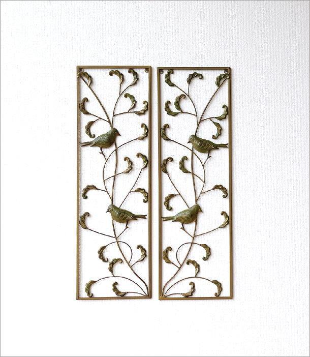 アイアンの壁飾り バード2枚セット(4)