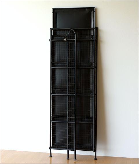 レトロ 収納棚 シャビーアイアンのスリムシェルフ 2カラー(4)