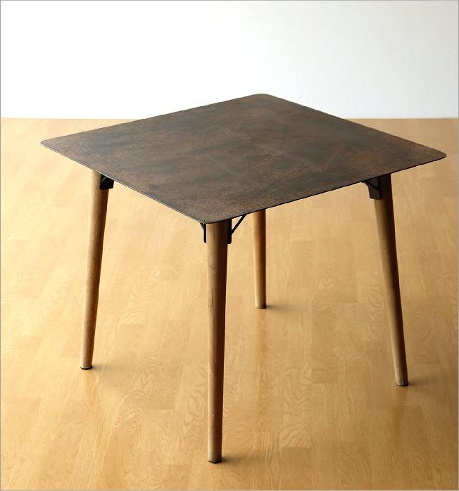 シャビーなアイアンとウッドのテーブル 70(7)