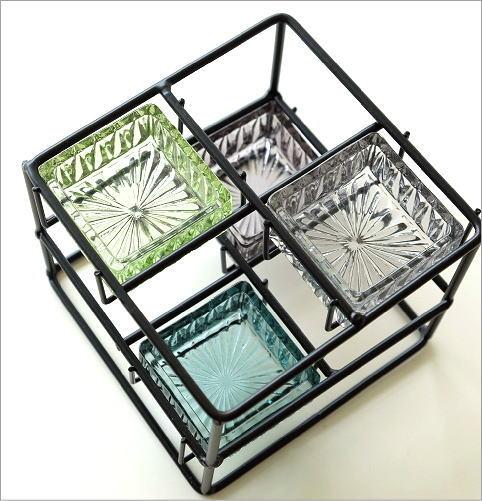 アイアンとガラスのステップ小物入れ(2)