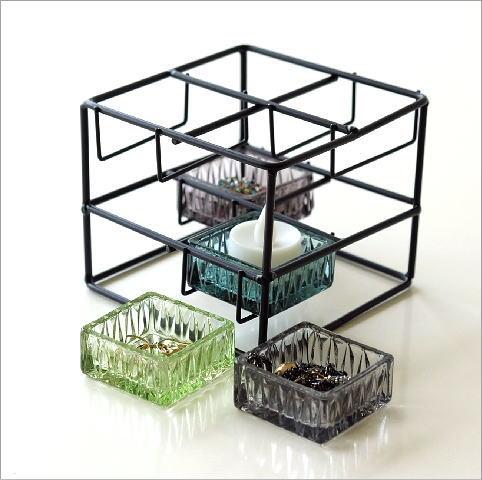 アイアンとガラスのステップ小物入れ(3)