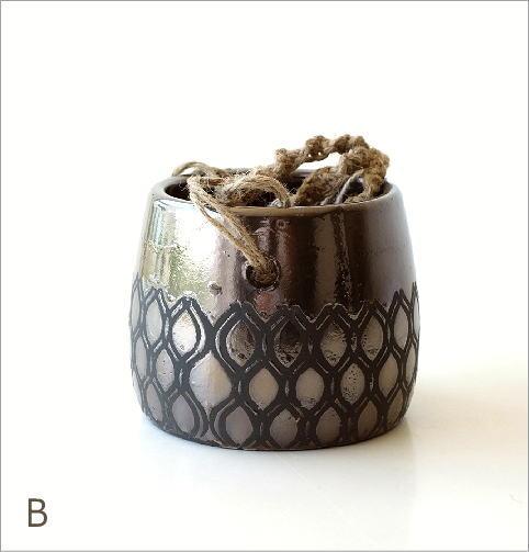 陶器のハンギングポット4タイプ(4)