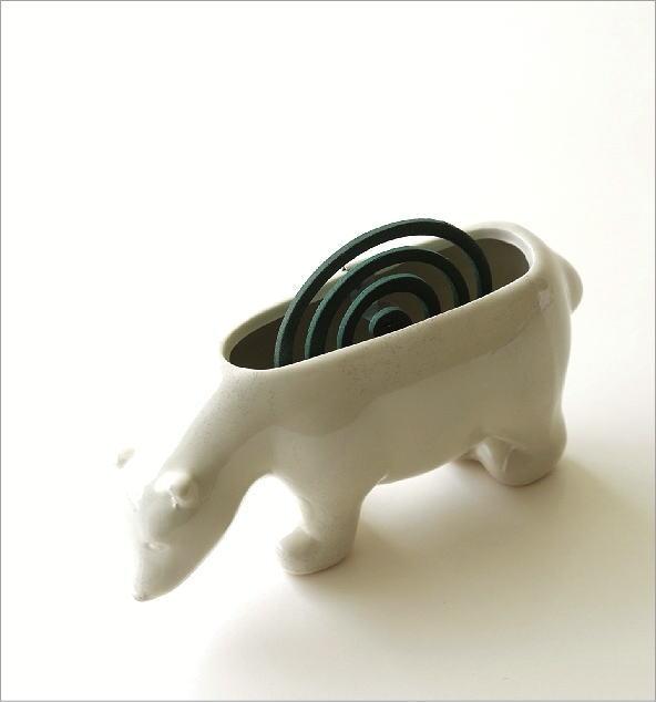 陶器の蚊遣り 白クマ(1)