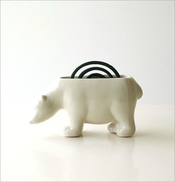 陶器の蚊遣り 白クマ(4)