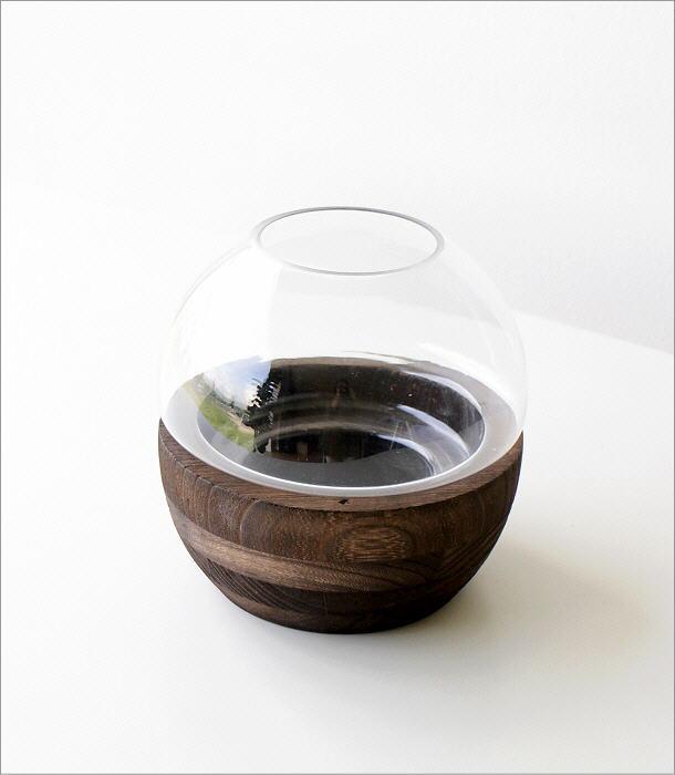 ウッドとガラスのフラワーベース(2)