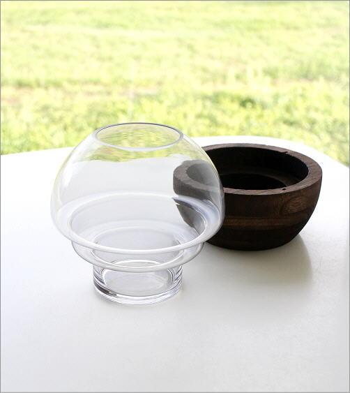 ウッドとガラスのフラワーベース(4)