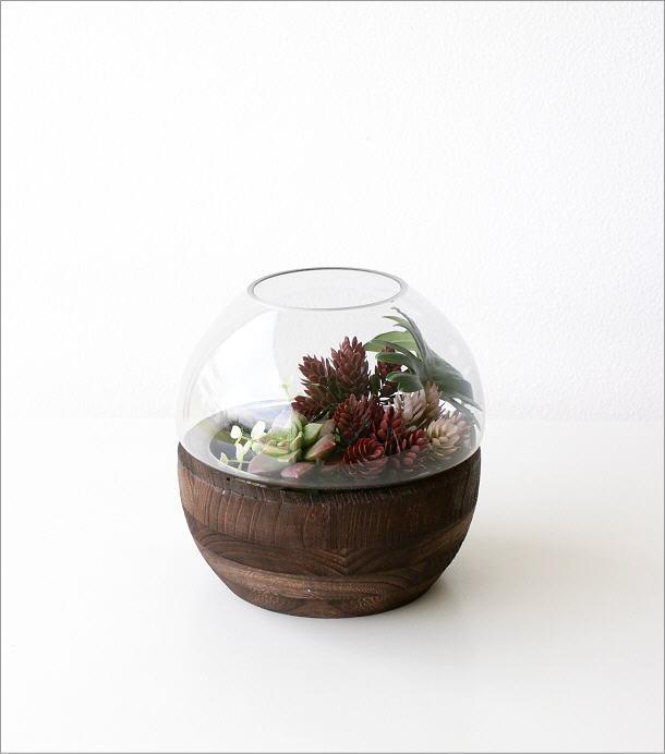 ウッドとガラスのフラワーベース(5)
