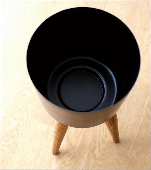 ウッドスタンド付きアイアン鉢カバーB(2)