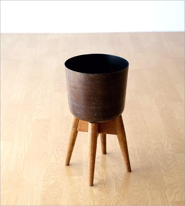 ウッドスタンド付きアイアン鉢カバーB(4)