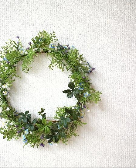 フェイクグリーンの壁飾り 忘れな草のリース(1)