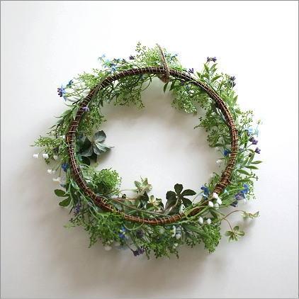 フェイクグリーンの壁飾り 忘れな草のリース(3)