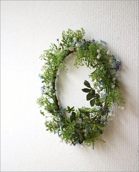 フェイクグリーンの壁飾り 忘れな草のリース(4)